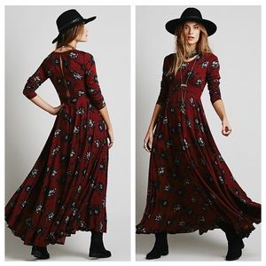 RARE Free People First Kiss Maxi Dress In red